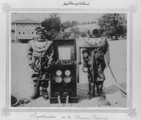 Divers at the Imperial Naval Arsenal, 1893. Library of Congress's Abdul Hamid II Collection