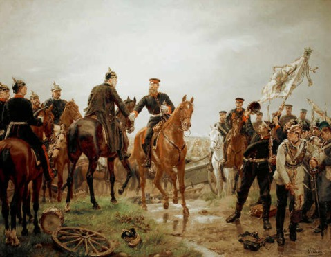 Prussian Army Crown Prince and Chief of Staff Helmuth Moltke (the elder) meet at Battle of Königgrätz. Note our lifeguard from above is making a cameo