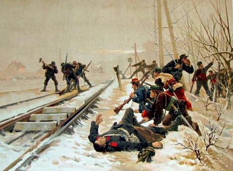 Raid on rail line. Note the dead Prussian sentry.