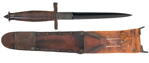 Historic World War II Case V-42 Stiletto and Scabbard, Both U.S.S. Omaha Marked