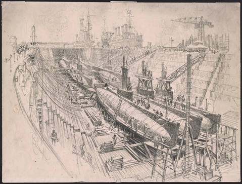 Joseph Pennell (1857–1926). Submarines in Dry Dock, 1917. Transfer lithographic drawing. Bequest of the Estate of Joseph Pennell. Prints and Photographs Division, Library of Congress (005.00.00) LC-DIG-ppmsca-40029