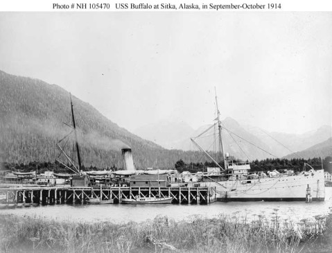 At the naval coaling station at Sitka, Alaska, in October or late September 1914. During the 1914 Alaskan Radio Expedition. Courtesy of the Naval Historical Foundation. Collection of Admiral Montgomery M. Taylor, donated by Louisa R. Alger, 1962. U.S. Naval History and Heritage Command Photograph. Catalog #: NH 105470