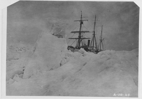 United States Coast Guard cutter BEAR (1884-1948), in ice pads. Description: Received from Coast Guard, 1930. Catalog #: NH 170.