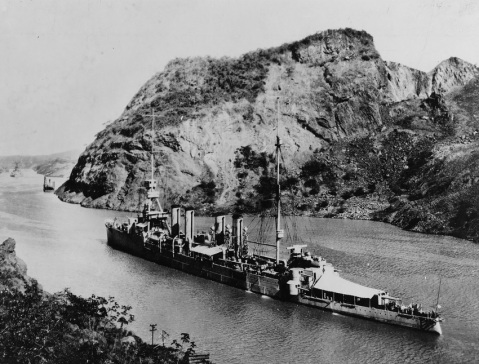 Passing through the Panama Canal, circa 1925-1926. Note the tropical awning over her stern. Catalog #: NH 43054