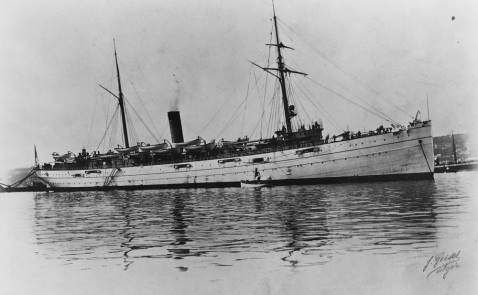 USS Buffalo Photographed at Algiers in January 1904 while serving as a training ship. Courtesy of Rear Admiral Ammen Farenholt, USN (MC), 1933. U.S. Naval History and Heritage Command Photograph. Catalog #: NH 434