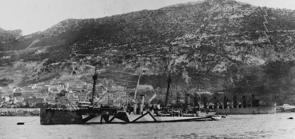 At Gibraltar circa December 1918, with USS Schley (Destroyer No. 103 ) alongside and the collier USS Jupiter (Fuel Ship No. 3) in the background. Note that Schley is still wearing pattern camouflage, while Buffalo has been repainted into overall grey. U.S. Naval History and Heritage Command Photograph. Catalog #: NH 56643