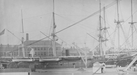 Alert at the Boston Navy Yard in 1875. Note details of her iron hull; boat. Note her dark overall scheme, which she would keep for most of the 19th Century. Catalog #: NH 57105