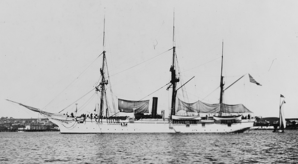 Photographed after the Samoa hurricane of March 1889. She was configured thus until 1899. Catalog #: NH 586