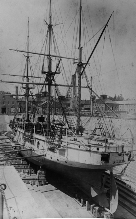 And from the stern-- In dry-dock at the Mare Island Navy Yard, California, about 1890. Note her huge rudder and prop Photograph from the William H. Topley Collection. Courtesy of Mr. Charles M. Loring, Napa, California, 1969. Catalog #: NH 68684
