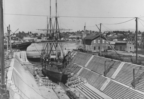 In dry-dock at the Mare Island navy yard, about 1890. Catalog #: NH 71061