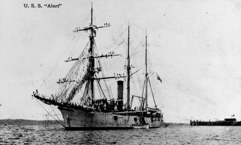 Postcard photo, probably taken while she was serving as California State Naval Militia Training Ship, 1906-1910. Note she still has some cannon mounted. Courtesy of Commander D.J. Robinson, USN (Ret), 1978 Catalog #: NH 86255