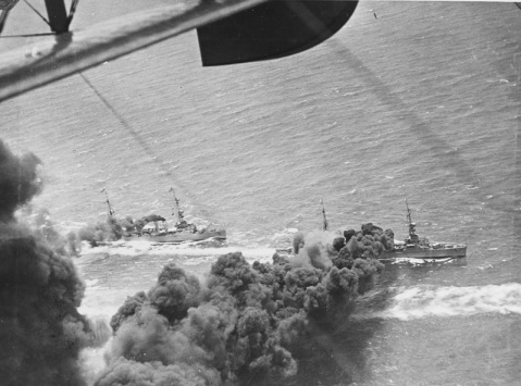Putting the screen in screening! Omaha Class Light Cruisers lay a smoke screen during maneuvers in about 1930. Courtesy of Chief Photographer's Mate John Lee Highfill (retired) Catalog #: NH 94898