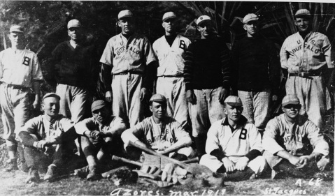 The ship's baseball team ashore in the Azores in March 1919. Photographed by St. Jacques. Courtesy of Paul H. Silverstone, 1983. U.S. Naval History and Heritage Command Photograph. Catalog #: NH 94998