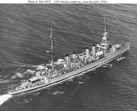 Underway, circa the early 1930s. The original photograph is dated 20 October 1936, but it was actually taken prior to Omaha's 1933 overhaul, during which her topmasts were reduced and a bathtub machinegun platform was fitted atop her foremast. Official U.S. Navy Photograph, from the collections of the Naval History and Heritage Command. Catalog #: NH 97971