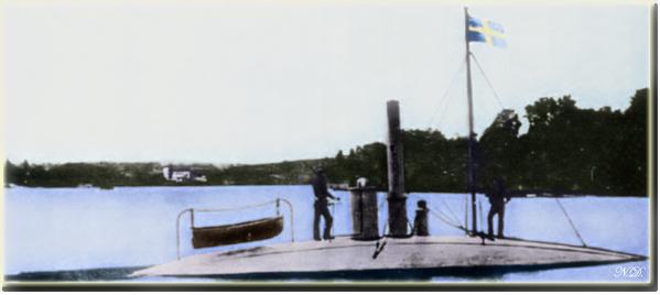 Nordenfelt I in trials in Landskrona, Sweden just before she was handed over to the Greeks. (September 1885)