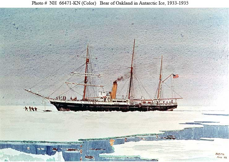 Painting by Hasta depicts Bear of Oakland, formerly USS Bear and USCGC Bear, in Antarctic Ice during Rear Admiral Richard E. Byrd's Antarctic Expedition of 1933-1935