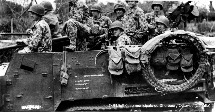 U.S. soldiers in HBT camouflage uniforms in a Half-track M2, Pont Brocard July 28, 1944, 41st Armored Inf. Regiment, 2d Armored Division http://www.flickr.com/photos/mlq/817019996/in/pool-529233@N22/