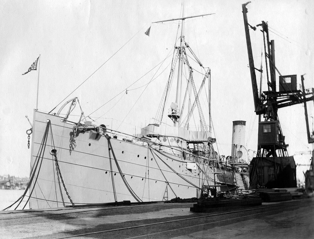 USS Buffalo at Mare Island, California loading materials for the expedition to Alaska radio stations. 1914 NHC Accession #: UA 557
