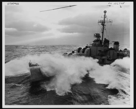 USS Stormes (DD-780) coming alongside USS Leyte (CV-32) for refueling during Operation Frigid, 17 November 1948