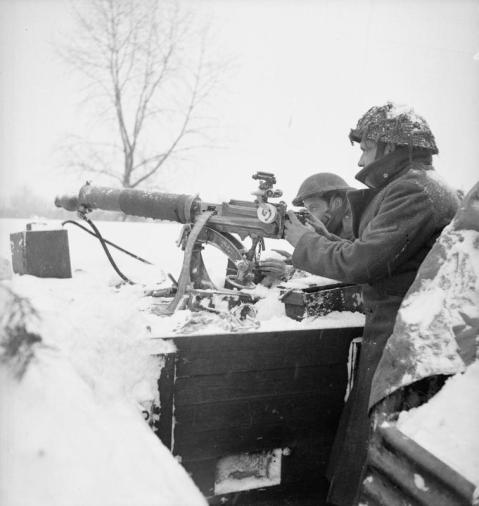 Vickers machine gun crew of 'A' Company, 2nd Middlesex Regiment, 3rd Division at Grubbenvorst, Holland, 13 January 1945.