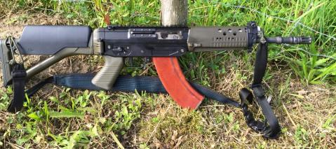 vickers Swiss Arms SG 553 R in 7.62 X 39mm. Takes AK mags sig