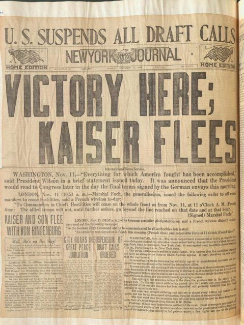 WW-Hist-clipping-Nov-11-1918-NY-Evening-Jouranl