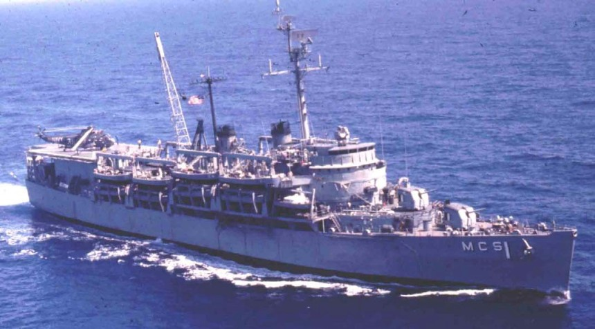 Sister USS Catskill as similarly converted MCS-1 with MSL's and one HC-7 R-3D Helicopter aboard