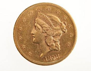 $20 Gold Piece made in 1858 CIA museum used by OSS agents