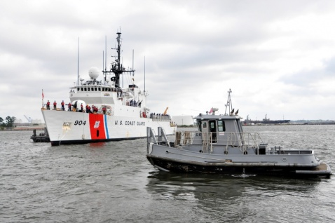 USCGC Northland (WMEC-904) returning from patrol last week. These 270-footers were a compromise design in the 1980s that replaced the old 327-foot WWII Treasury class cutters and others. They are the last in the U.S. fleet to mount the Mk75 76mm gun