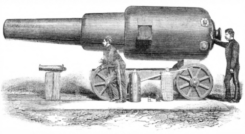 A 12 inch 38 ton Rifled Muzzle Loader (RML) as used by British Coastal Artillery, image via Scientific American, Nov 1875