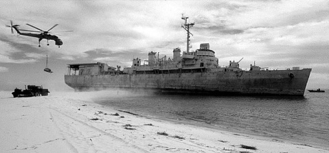 ex-USS Ozark aground on Perdido Key, Florida.