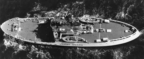 Overhead view as WMEC, note her buoy tending gear is largely gone