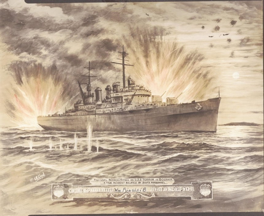 High level bombing attack on USS Terror in Oceania: a true incident related by ship's personnel, by LR Lloyd