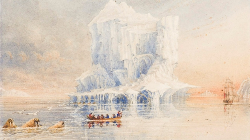 A watercolour of the HMS Terror exploring the Canadian Arctic (Canadian Museum of Civilization)