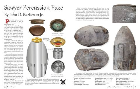 John Bartleson Jr.'s article from the Summer 2016 The Artilleryman Magazine. He details the Sawyer percussion fuse.