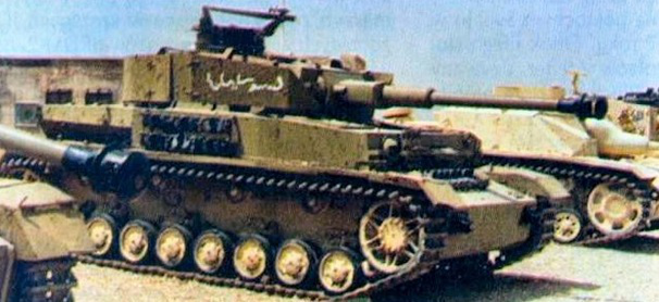 Syrian Panzer IV; this one was most likely from the ex-Spanish batch. A Syrian StuG III is behind it; both captured by Israel in 1967