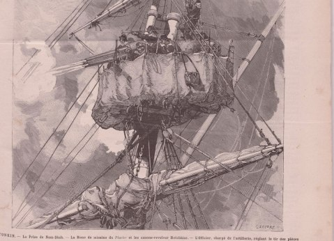 The French gunboat Pluvier engages the Vietnamese defences of Nam Dinh with her masthead-mounted canons-revolvers, 27 March 1883. Published in Le Monde. She did much the same at Son Tay