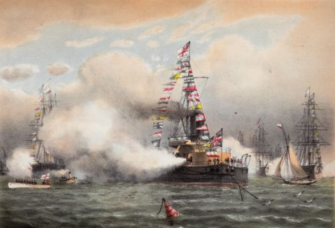 """The turret armour-clad ship Devastation at Spithead on the occasion of the Naval Review in honour of the Shah of Persia's visit 23rd June 1873"""