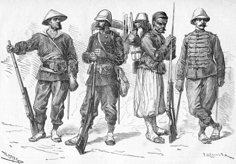 Uniforms of the Tonkin expeditionary corps, 1885 (fusilier-marin, marine infantryman, Turco and marine artilleryman