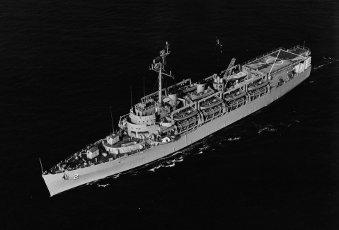 USS OZARK (MCS-2) Underway off Norfolk, Virginia, on 31 August 1966. Along minesweeping launches embarked are: MSL-33, 31, 40, 48, 47, and 42. Catalog #: USN 1117513, Copyright Owner: National Archives