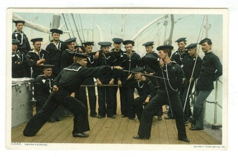"USS Atlanta, ""Sword exercise"" It should be noted the Navy still had cutlasses on some ships through WWII"