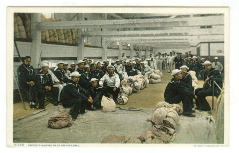 "USS Vermont ,1890, ""Recruits waiting to be transferred."" note the hammock bedrolls on the bulkhead"