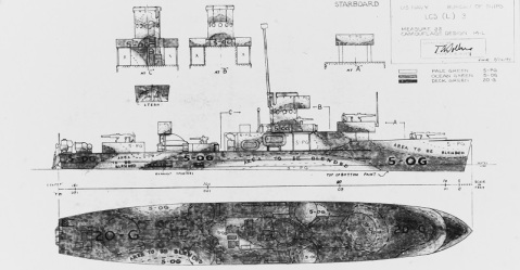 Camouflage Measure 33, Design 14L. Drawing prepared by the Bureau of Ships for a camouflage scheme intended for landing craft, support (large) of the LCS(L)-3 class. This plan, approved by Captain Torvald A. Solberg, USN, is dated 26 July 1944. It shows the ship's starboard side, horizontal surfaces, stern and superstructure ends. Photograph from the Bureau of Ships Collection in the U.S. National Archives. Catalog #: 19-N-73633