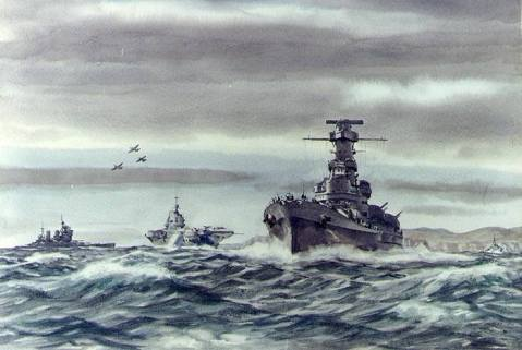 """Taks Force of Two Navies"" Watercolor by Dwight Shepler, USNR, 1943, depicting U.S. and British warships in the Pentlant Firth during an operation toward the Norwegian coast, coincident with the Sicily invasion, July 1943. Alabama (BB 60) is in the lead, followed by HMS Illustrious and HMS King George V. Three British carrier-based fighters (two ""Seafires"" and a ""Martlet"") are overhead. Official USN photo # KN-20381, courtesy of the U.S. Navy Art Collection, Washington, DC, now in the collections of the National Archives."
