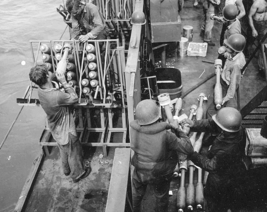 Beach Barrage Rockets being loaded USS LCI(G)-456 during the invasion of Peleliu, September 1944. US National Archives photo #'s 257558