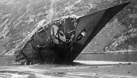 German Type 1934A-class Zerstörer Bernd von Arnim (Z11) after Narvik. The German tin cans had a very bad day.
