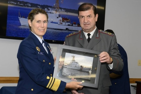 Coast Guard Vice Adm. Sandra Stosz, Deputy Commandant Mission Support, presents a picture of a Island-class cutter to Major General Zurab Gamezardashvili, Deputy Minister of Internal Affairs of Georgia, at the Coast Guard Yard, Baltimore, Md., Sept. 30, 2016. U.S. Coast Guard photo by Petty Officer 2nd Class Mark Barney.