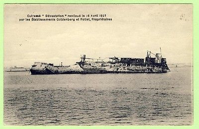 cpa-rare-marine-militaire-le-cuirasse-devastation-renfloue