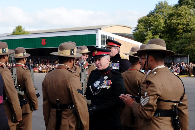 Lieutenant General J I Bashall CBE, inspecting new members of the Brigade of Gurkhas, 6 October-- note the Kukri.