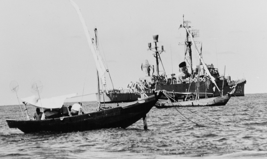 USS FORSTER (DER-334) Lays among Vietnamese trawlers as the destroyer escort conducts visit-and-search operations off Vietnam, 15 April 1966. Catalog #: K-31525 National Archives. Original Creator: Photographer, Chief Journalist Robert D. Moeser